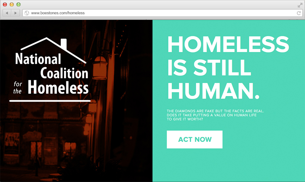 *The live version of this page looks different, as the National Coalition for the Homeless sent us a Cease & Desist.