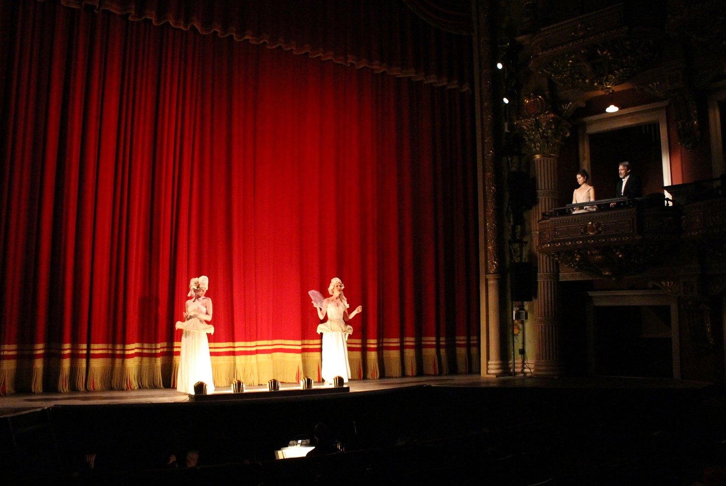 Theater scene - we used the glorious boxes in the house and played in front of the red curtain