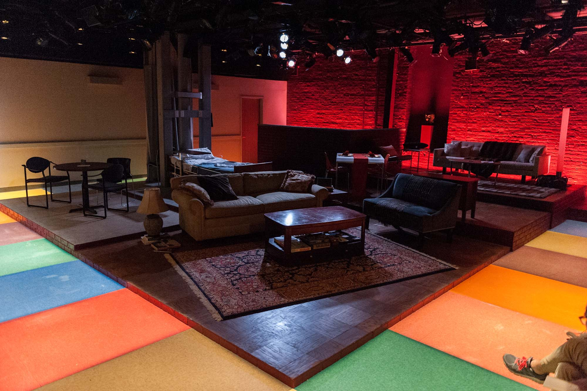 Overview of the set with the board-game hallway. Seating was on two sides of the room.