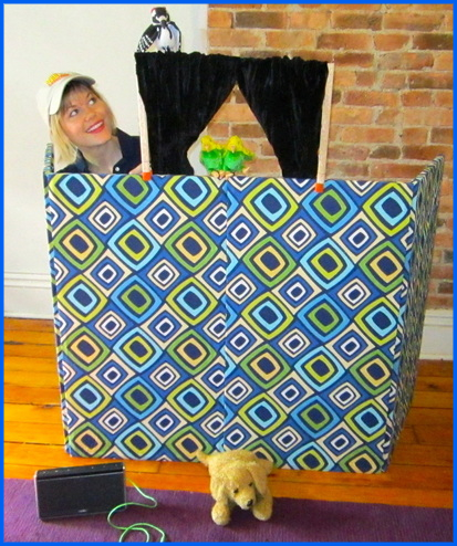 Circle Show set-up with mini curtains clipped on top