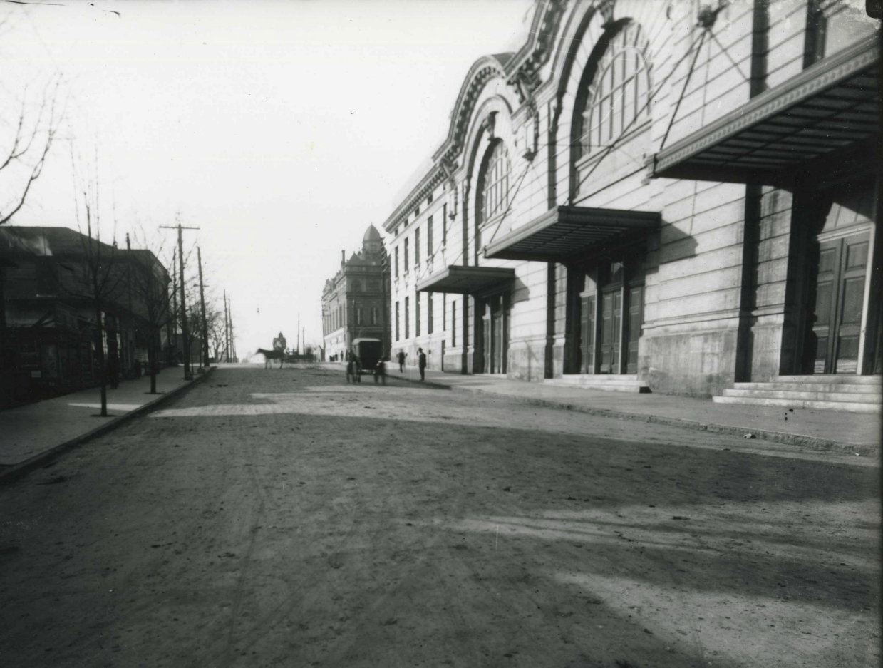 Raleigh Auditorium and City Hall. City Hall is at the far end of the block. Photo ca. 1900  - Photo: State Archives of North Carolina