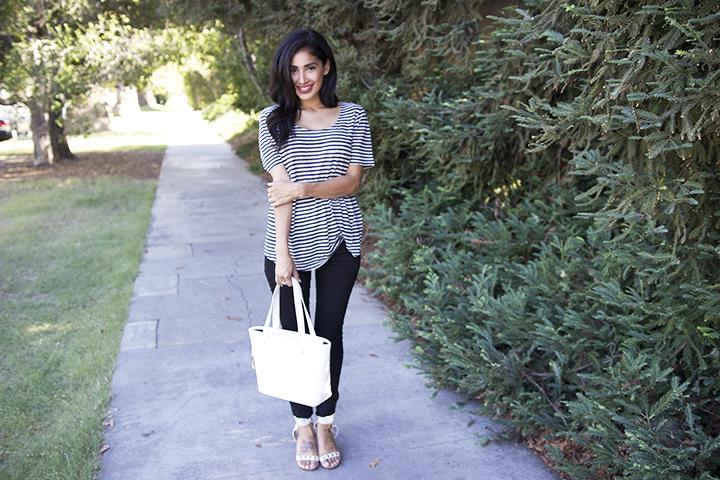 Thvm jeans, H&M tee, Jessica Buurman sandals, Ralph Lauren bag