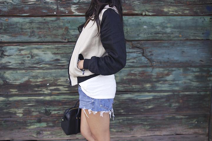 For Cynthia jacket, Alexander Wang tee, Levis shorts, Zara bag and sandals