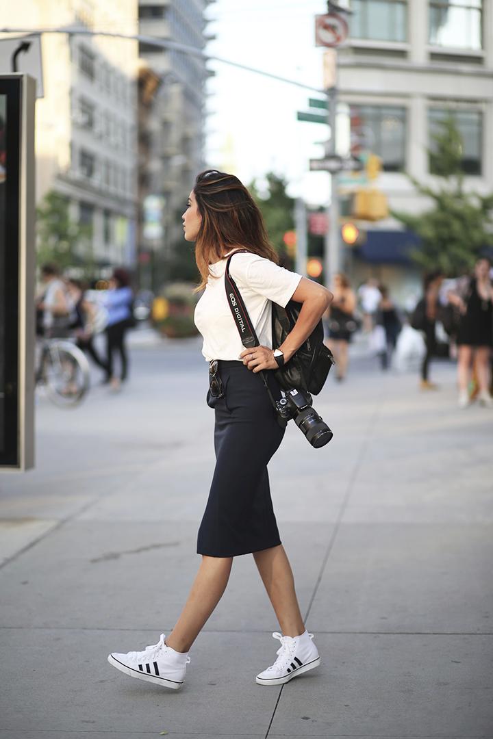 Zara tee and skirt, Topshop backpack, Adidas