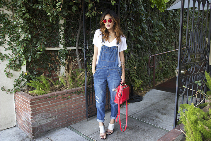 Ray-ban sunnies, H&M tee, Forever21 overalls Zara bag, Report Signature shoes