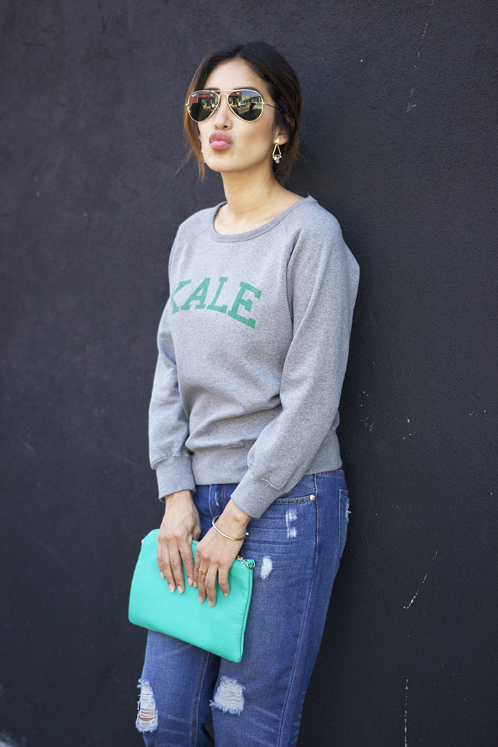 Suburban Riot sweatshirt, Wholesale fashion square boyfriend jeans, Forever21 clutch, Shlomit Ofir earrings