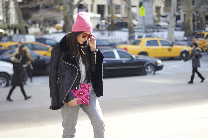 Wildfox sunnies, Forever21 top jacket, Zara leather jacket and trousers, Topshop clutch and beanie