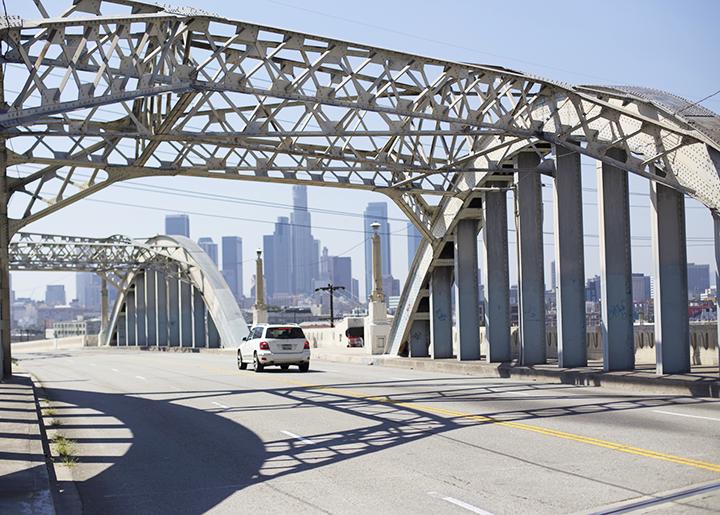 6th street bridge (over looks downtown LA and the LA river)