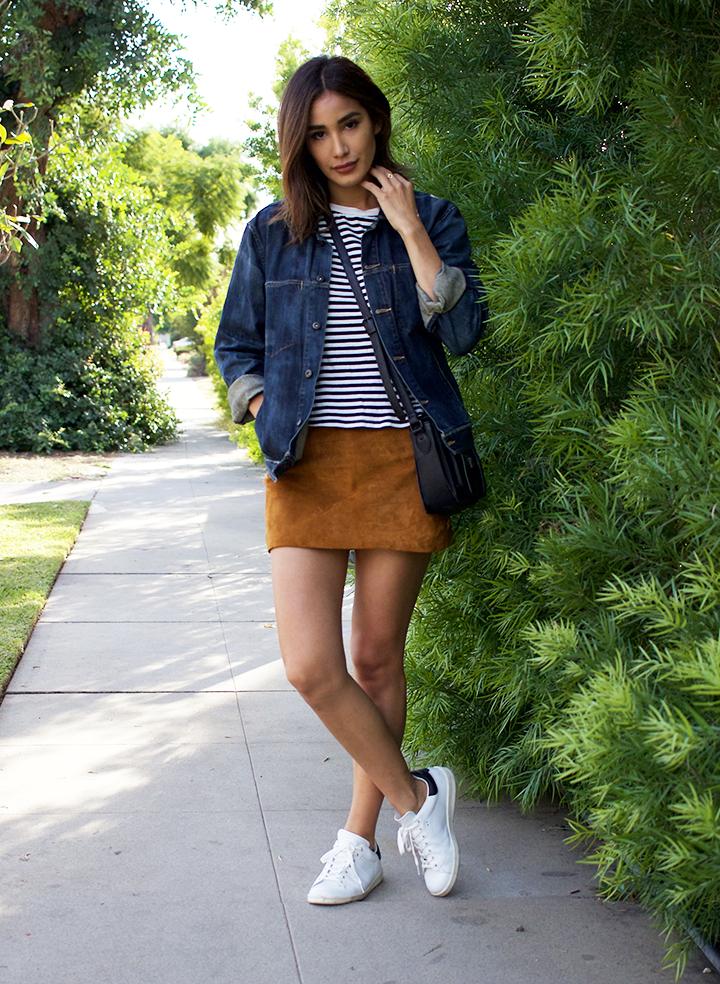 Thvm denim Jacket, Forever21 tee and skirt, Isabel Marant sneakers