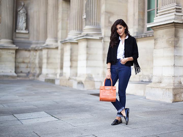 Forever21 jacket, Acne jeans, Zara shoes, Maison Du Sac bag