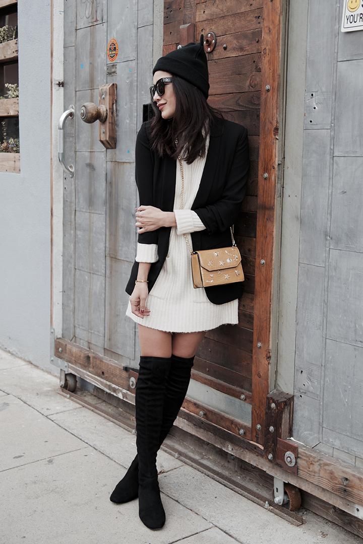 Sweater dress / Vestido: Zara,  Boots /Botas: Mango,  Bag /Bolsa: Zara