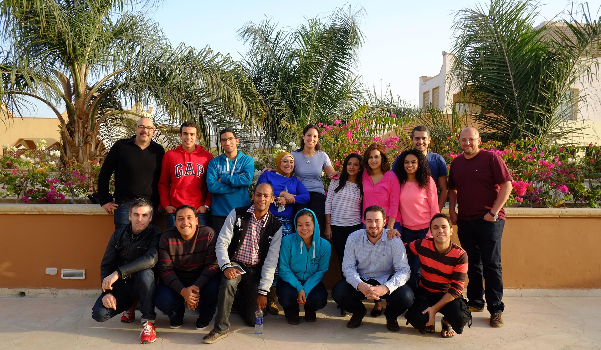RISE Fellows bond after orientation and deep dives in Dec 2014,Ain Al Sokhna, Egypt