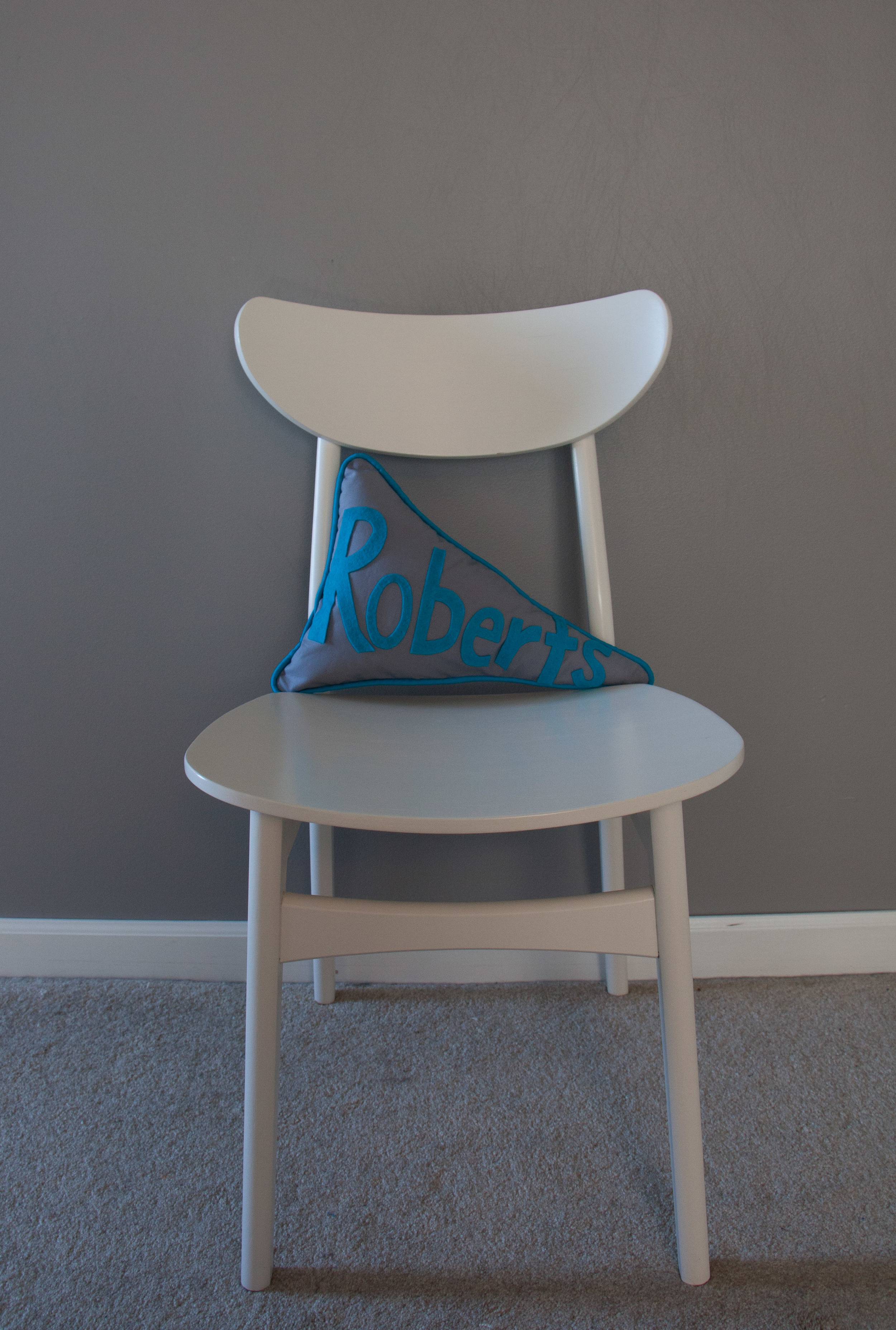Hooray for Rain - finished pennant pillow