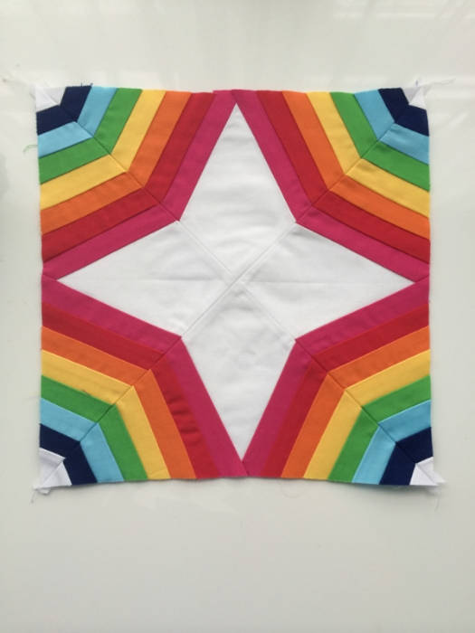 Rainbow Spiderweb Quilt Block - Hooray for Rain