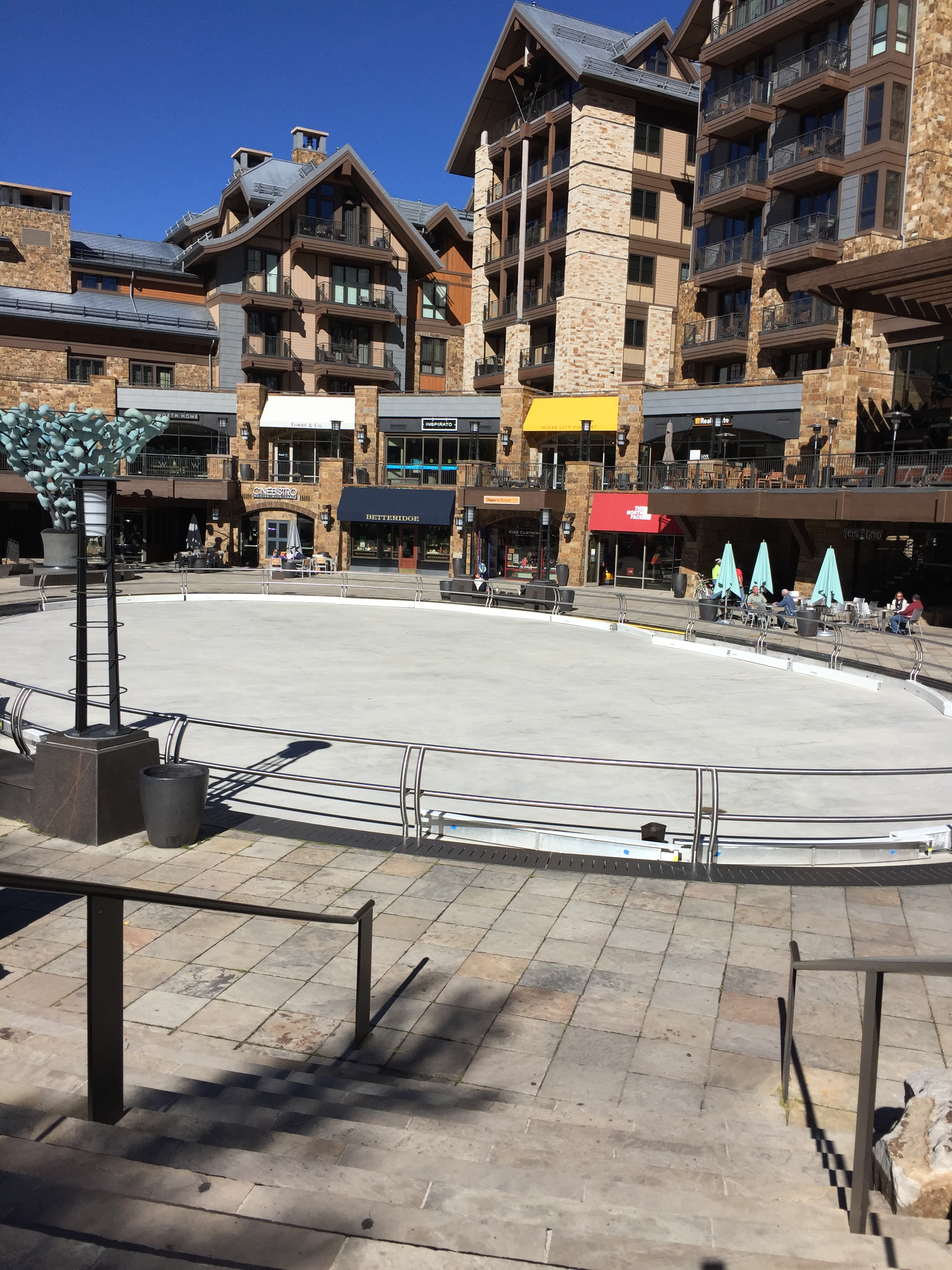 (Changing over the grassy play area to the ice skating rink!)