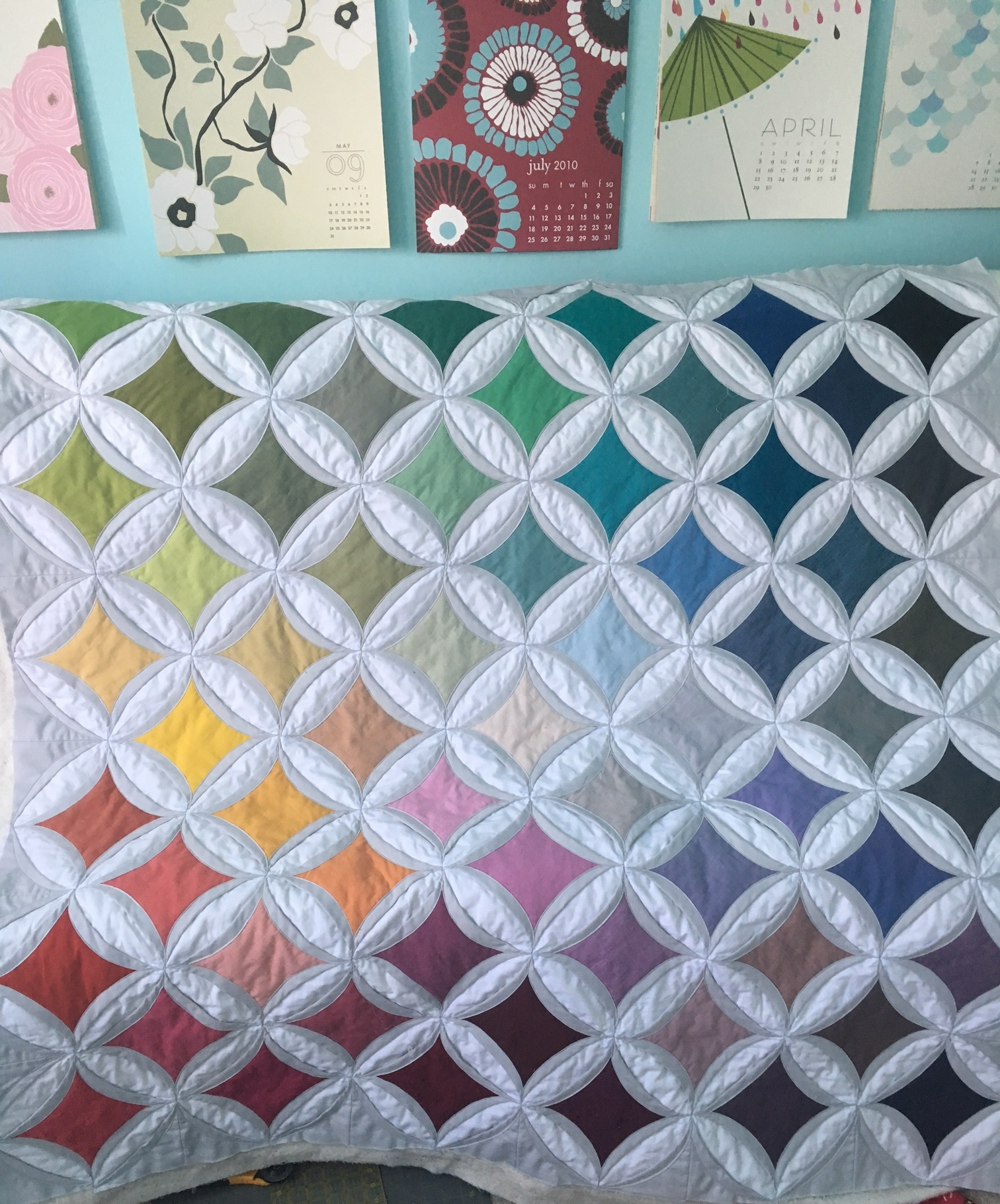 Hooray for Rain - E's Cathedral Windows Quilt