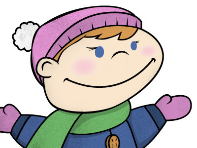 This is the fully colored main character. I really like texture applied to flat vector art. You can see that showing up everywhere in the hat, scarf, coat, and mitte  ns.