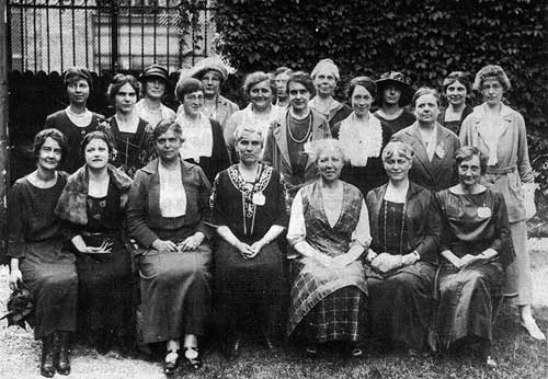 Canadian delegates to the 1921 Paris Conference of the International Federation of University Women.     Margaret McWilliams is seated at centre.      Source:  University Women's Club of Winnipeg,  Archives of Manitoba