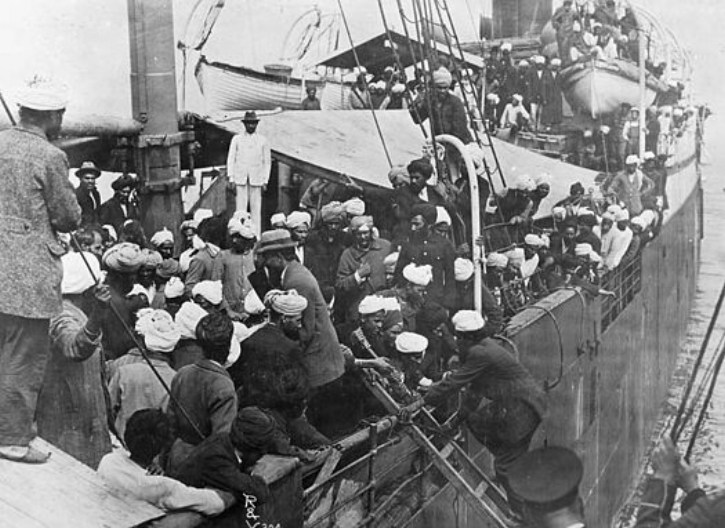 Sikhs aboard Komagata Maru in Vancouver's Burrard Inlet, 1914