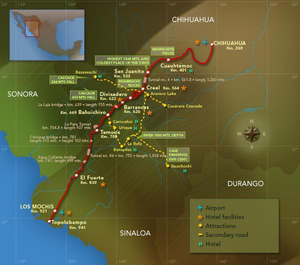 Mapa de ruta Chihuahua al Pacifico (CHEPE)(cortesia de Ferromex)