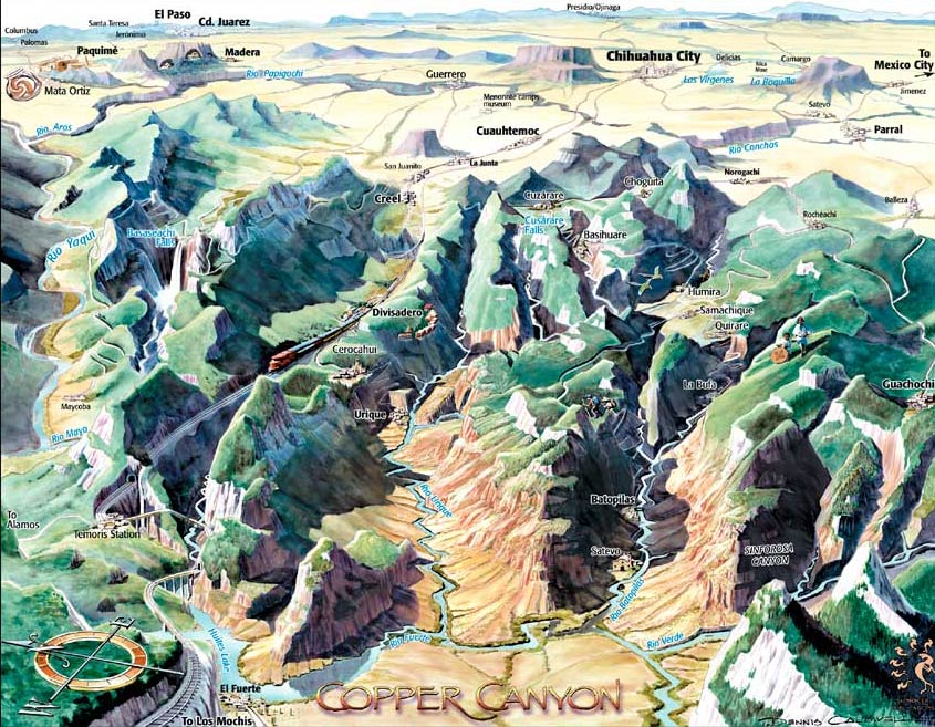 Copper Canyon area map.  There are NINE major canyons here!
