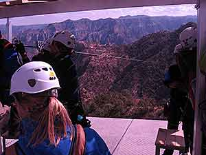 Waiting your turn for zipline at Copper Canyon Adventure Park