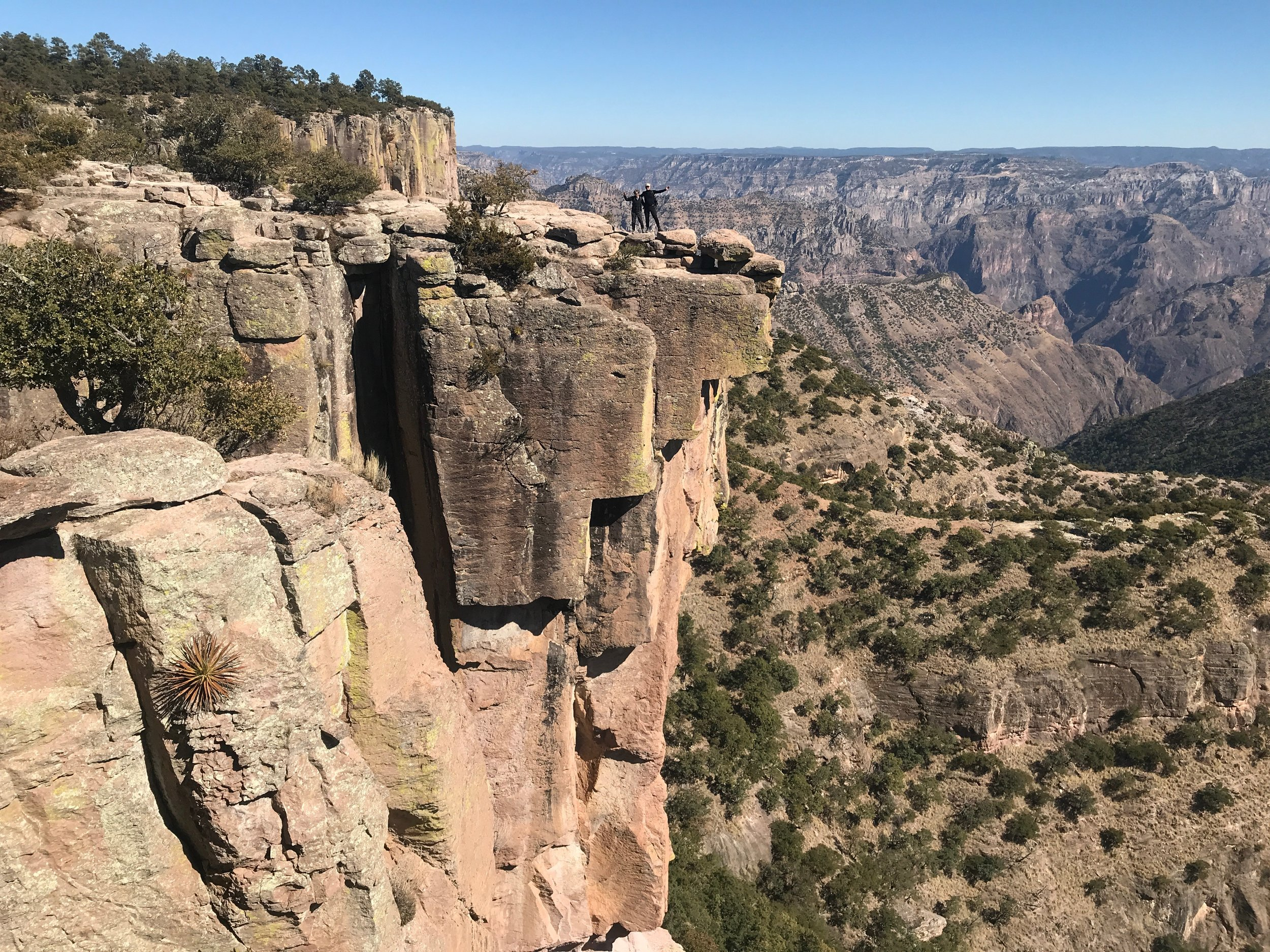 Honey and Dave, recent clients to the amazing Copper Canyon, at Piedra Volada (courtesy Dave Perfitt)