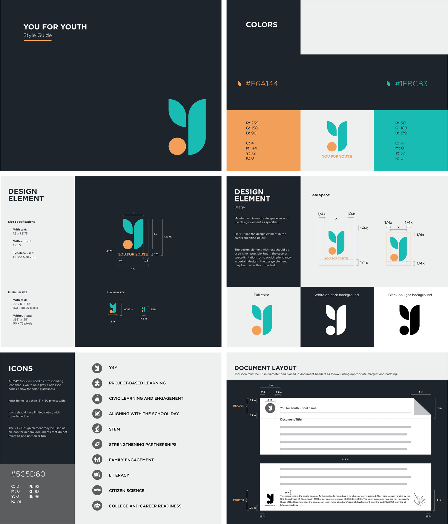 Brand Identity - Redesigned the logo and iconography and developed a style guide for You for Youth. Collaborated with other designers for feedback, and worked with the client to ensure the final design met their needs both visually and practically.