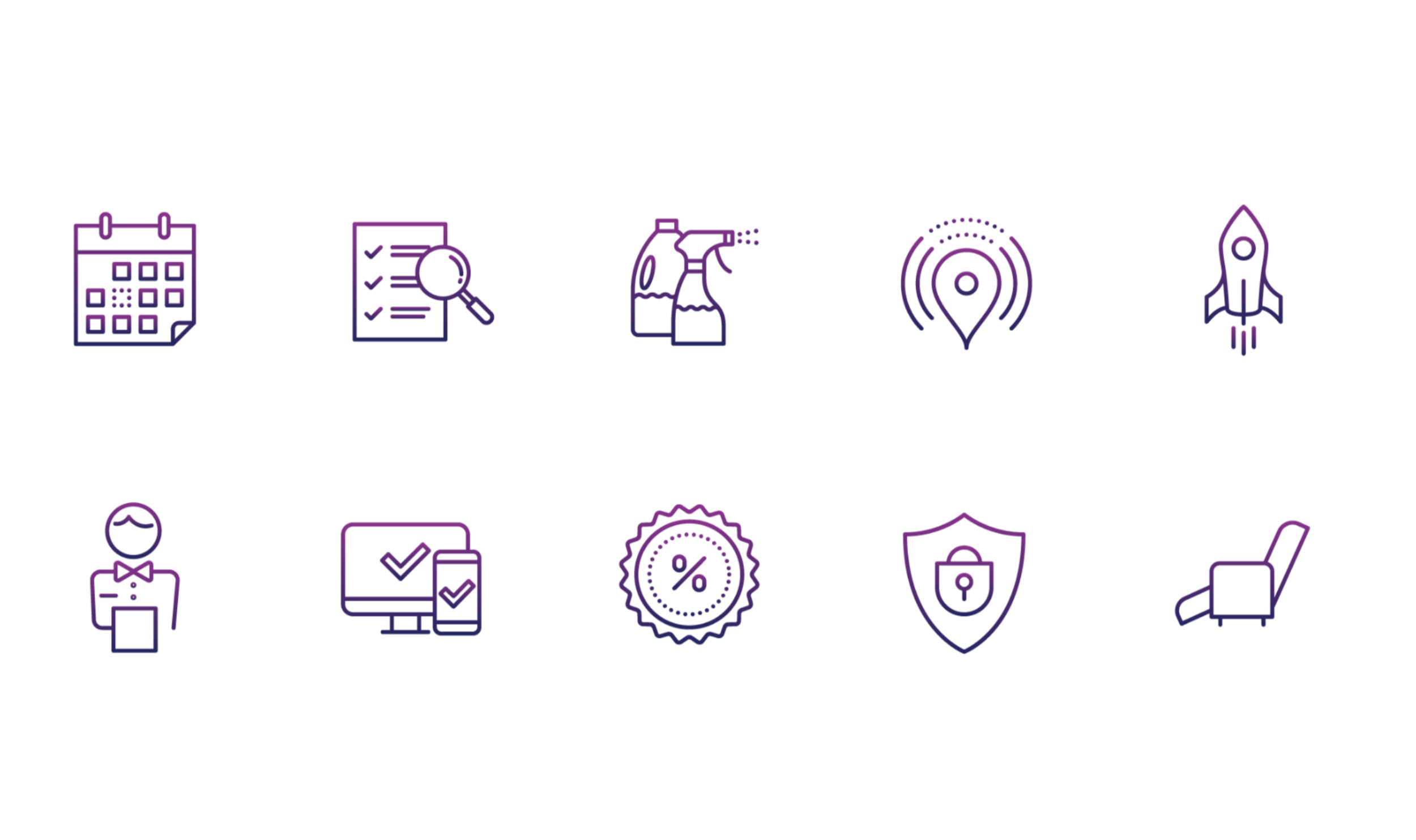 Iconography - Created clean, new icons to help visually convey the value prop and to ease navigation through the booking process.