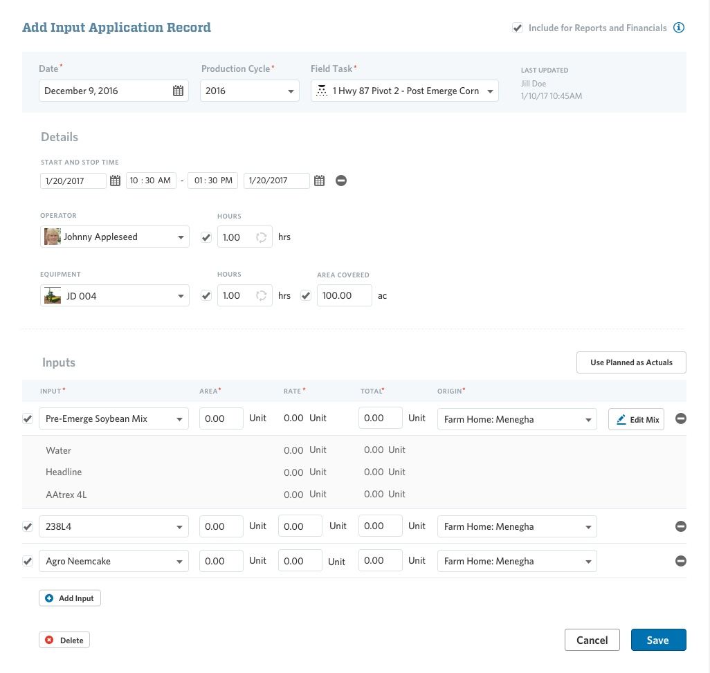 Complete Input Application Record