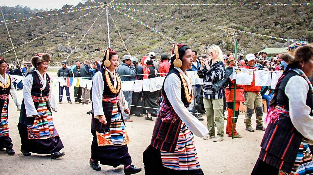 The Golden Jubilee Festival of Sir Edmund Hillary's first school in the village of Khumjung.