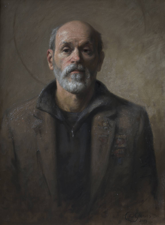 "Title : Surviving Modern Art (Self Portrait)     Artist:  Daniel Graves    Medium:  Oil on Linen    Dimensions:  23"" x 31.5"""