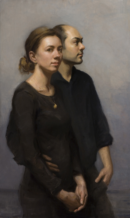 "Title:    Double Portrait     Artists:   Angel Ramiro Sanchez & Melissa Franklin Sanchez    Medium  : Oil on Canvas    Dimensions:   25"" x 39"""