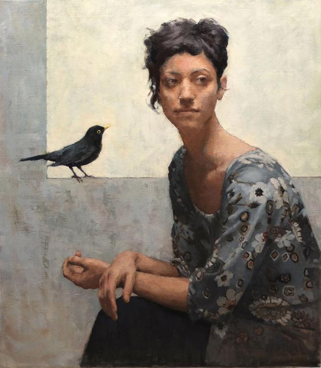 "Title:  Blackbird     Artist:  Elena Arcangeli    Medium  : Oil on Canvas    Dimensions  : 27.5"" x 31.5"""