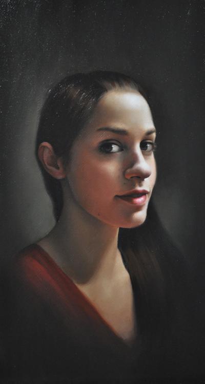 "Title:  Self Portrait     Artist : Frøydis Aarseth    Medium  : Oil on Linen    Dimensions  : 11"" x 20"""