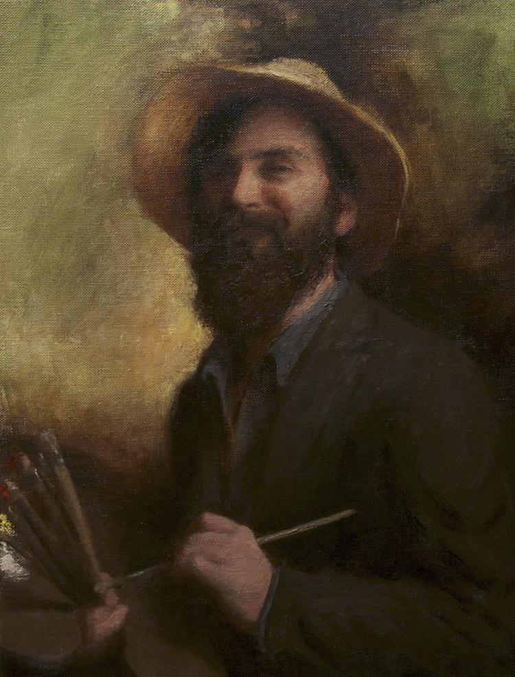 "Title:  Self Portrait with a Smile     Artist:  Richard Greathouse    Medium:  Oil on Linen    Dimensions:  25.6"" x 19.7"""