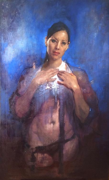 """Title:  Wading Through     Artist:  Hege Elizabeth Haugen    Medium:  Oil on Canvas    Dimensions:  32"""" x 52"""""""