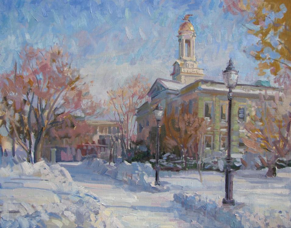 "Title:  First Heavy Snow, City Hall     Artist:  Leo Mancini-Hresko    Medium:  Oil on Canvas    Dimensions:  21.5"" x 27.5"""
