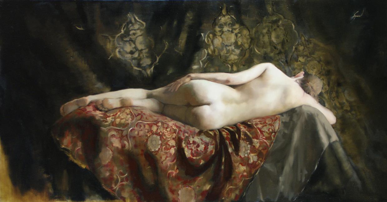 "Title:  Reclining Nude     Artist:  Carla Louise Paine    Medium:  Oil on Linen    Dimensions:  60"" x 32"""