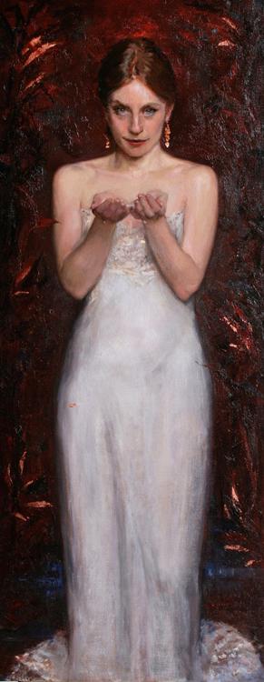 """Title:  Narsicista     Artist:  Tanvi Pathare    Medium:  Oil on Canvas    Dimensions:  23.6"""" x 59"""""""