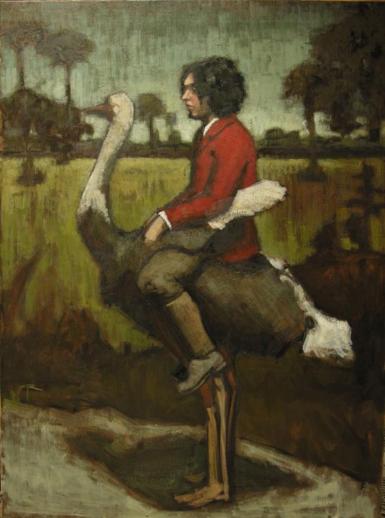 "Title:  Strong Bird Carrying Young Gentleman     Artist:  Paula Rubino    Medium:  Oil on Linen    Dimensions:  40"" x 30"""