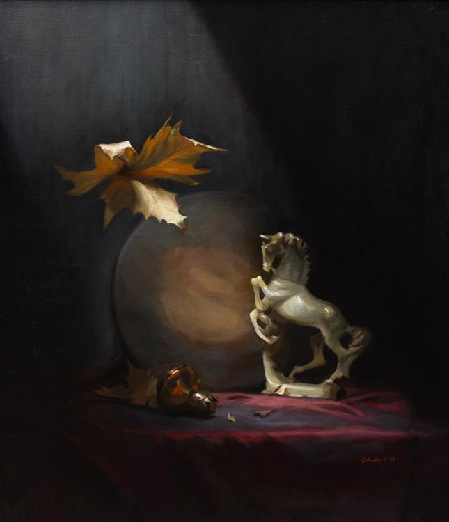 """Title:  The Fall     Artist:  Steffen Schubert    Medium:  Oil on Canvas    Dimensions:  29.5"""" x 27"""""""