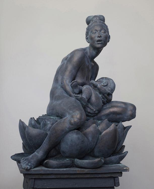 "Title:  Manna From Heaven     Artist:  Lori Shorin    Medium:   Polychrome Ceramic      Dimensions:  32"" x 26"" x 24"""