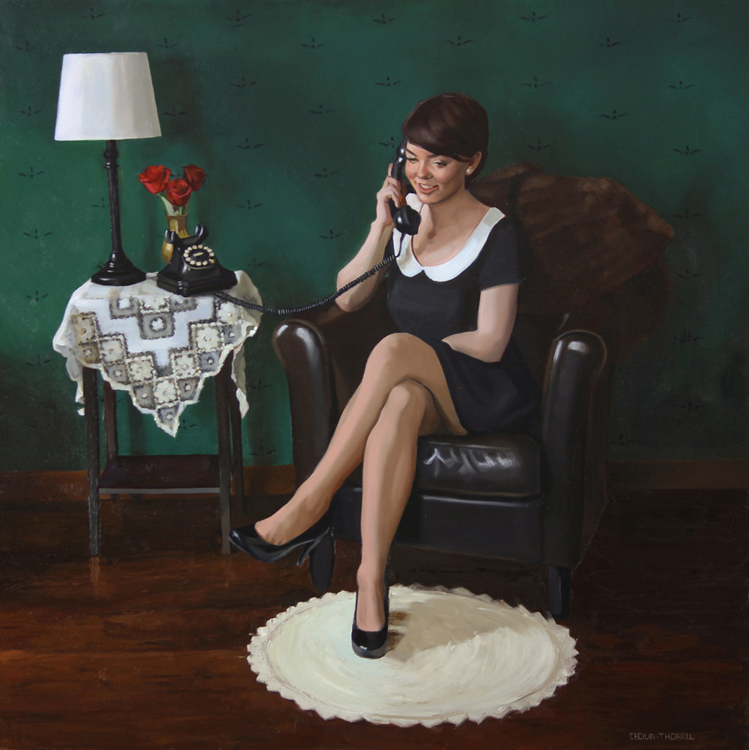 "Title:  Making Plans     Artist:   Cecilia Thorell    Medium:   Oil on Linen    Dimensions:   34"" x 34"""