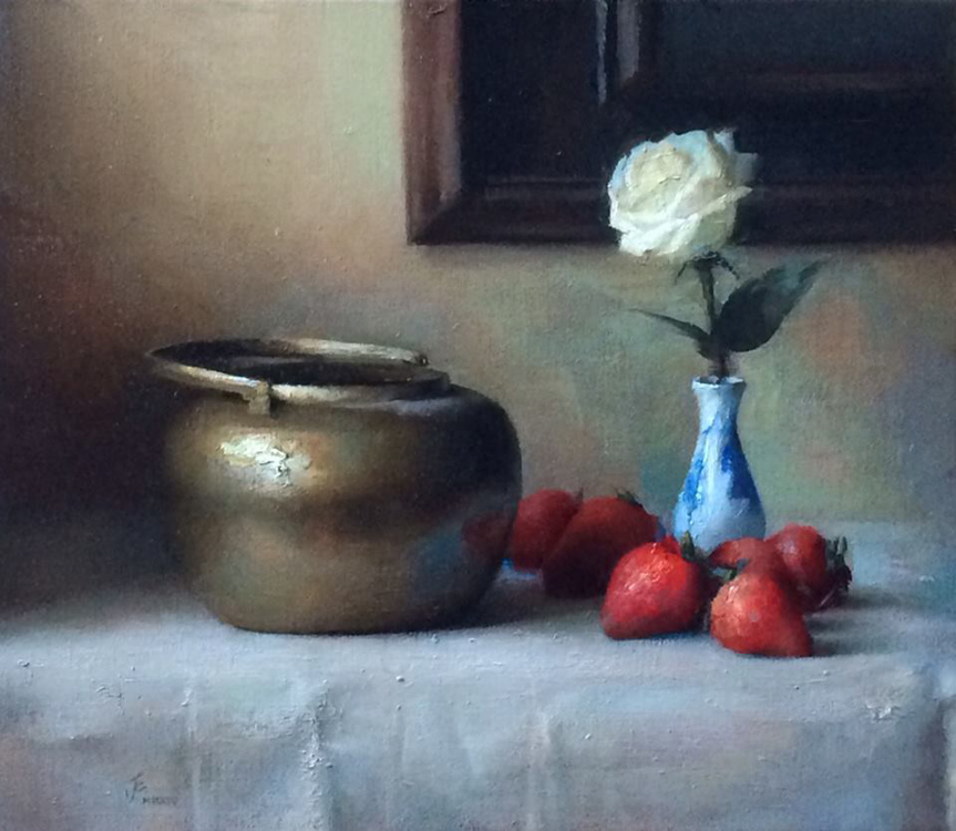 "Title:  Still Life with Strawberries     Artist:   Jesus Emmanuel Villarreal    Medium:   Oil on Linen    Dimensions:   14"" x 16"""