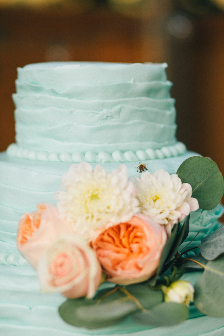 how cool that the photographer caught this little bee on the cake.