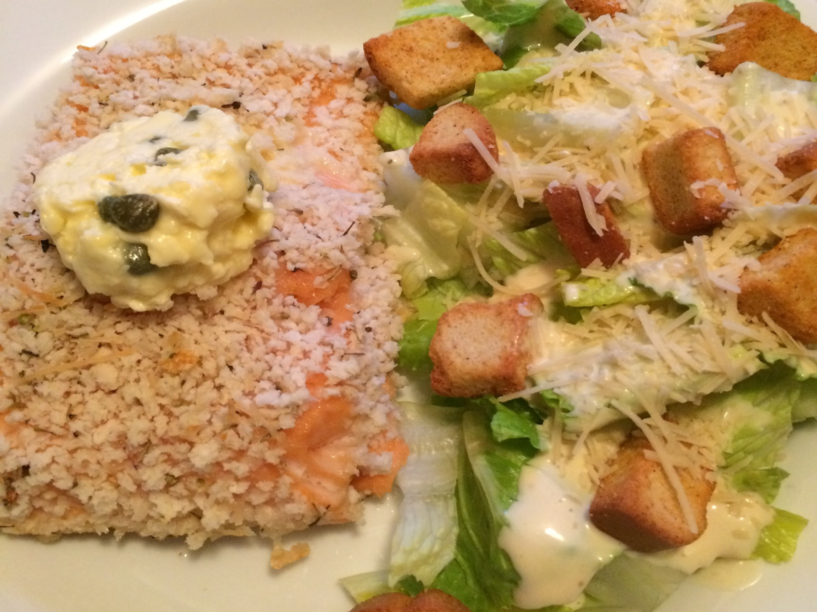 Salmon with Parmesan Herb Breading w/ Caesar Salad