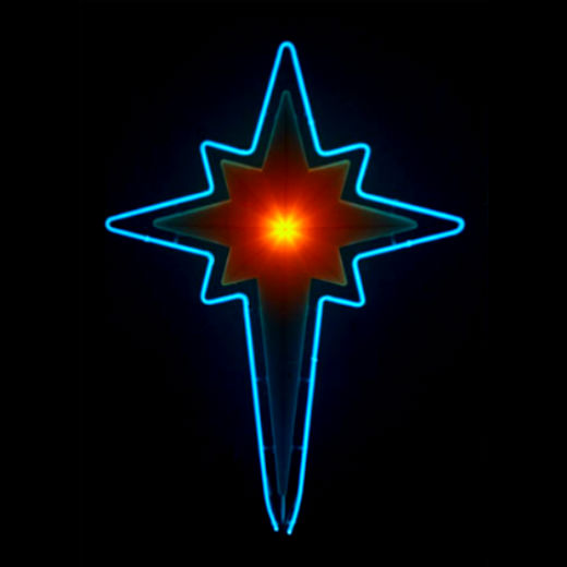 Icy Blue Neon Christmas Manger Star!