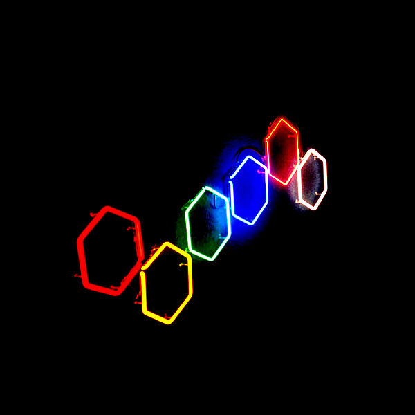 Hexagonal Luminous Italian Glass Wall Sculpture!