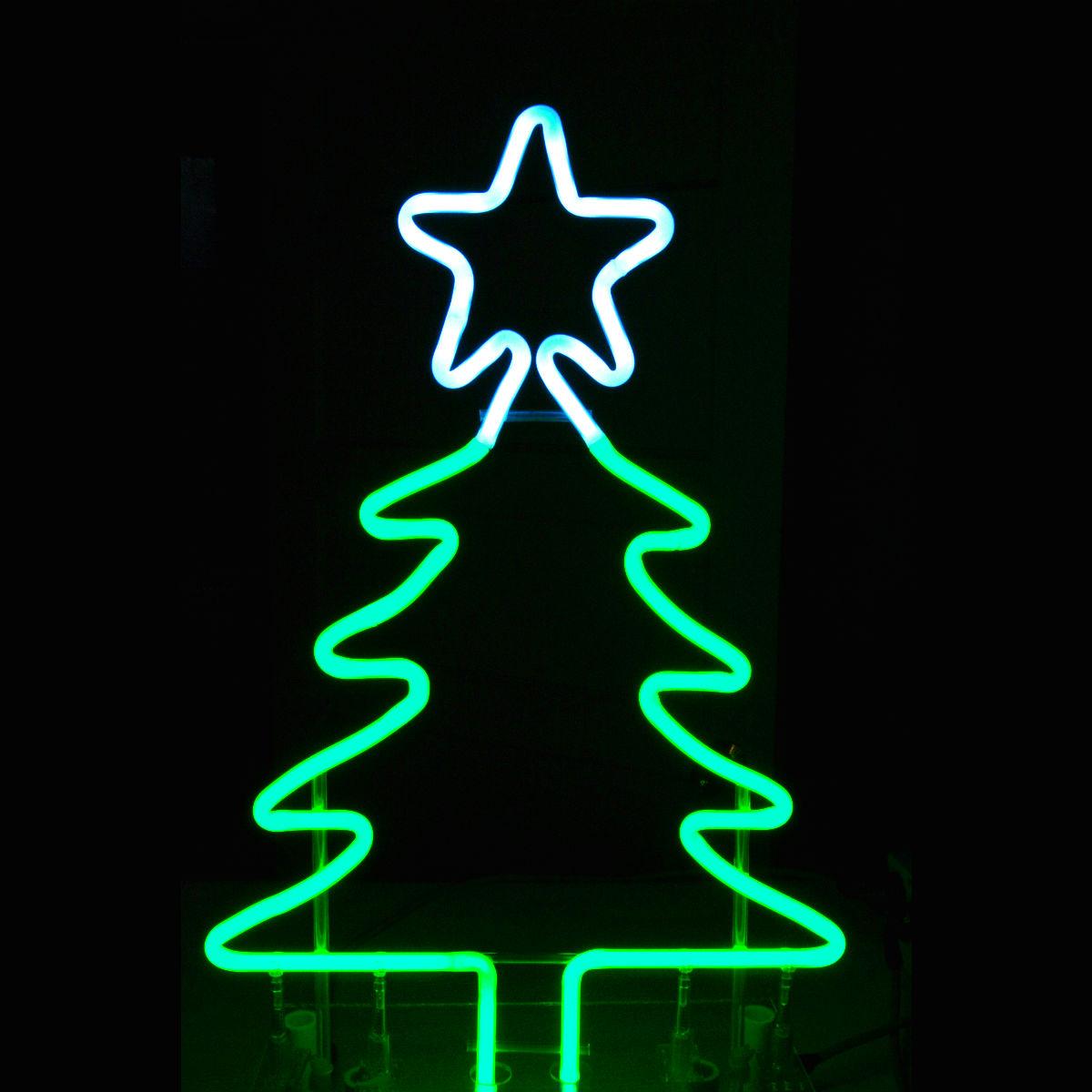 Tabletop Designer bright green neon Christmas Tree with Snow White Neon Star ..... by John C. Barton - International Neon Glass Artist